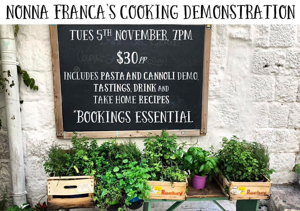 A example promotion poster for Nonna Franca cooking demonstration