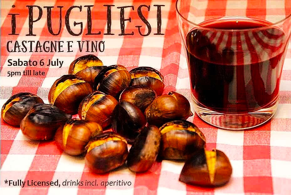 Promotional poster for castagne e vino night at i Pugliesi